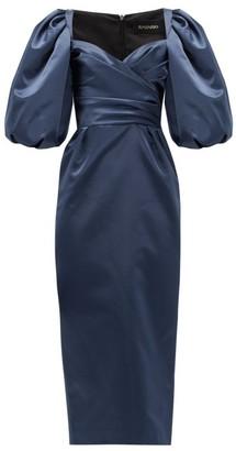 Rasario Balloon-sleeve Satin Dress - Womens - Navy