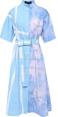 Proenza Schouler Belted Flared Tie-dyed Cotton-poplin Midi Dress