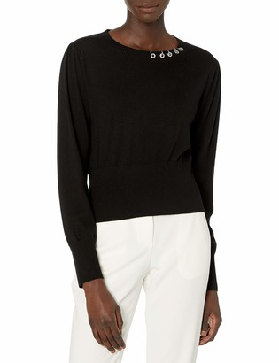 The Kooples Women's Women's Round Neck Pullover Short in Length with Fitted Waist and Wristbands