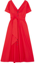 Saloni Zoey Cutout Stretch-cotton Poplin Midi Dress - Red