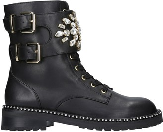 Kurt Geiger Stoop Embellished Ankle Boots, Black Leather