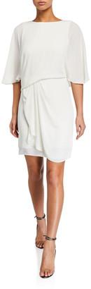 Halston Silky Georgette Draped Skirt Dress