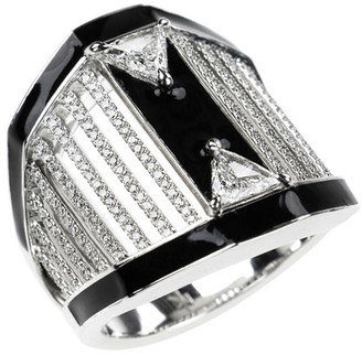 Nikos Koulis 18k White Gold Oui Pave & Trillion Diamond Ring, Size 6.75