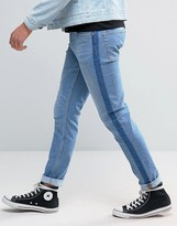 Asos Skinny Jeans With Tux Stripe In Washed Blue