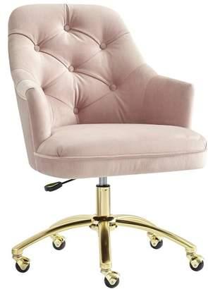 Pottery Barn Teen Tufted Swivel Task Chair, Lustre Velvet Dusty Blush