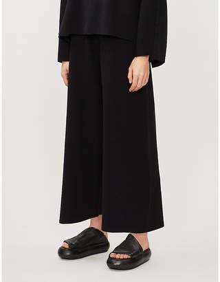 Isabel Benenato Wide-leg high-waist jersey trousers