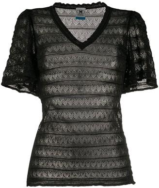 M Missoni sheer zig-zag knit T-shirt