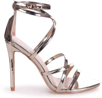 Linzi JENNIFER - Gold Chrome Strappy Stiletto Heel With Ankle Strap