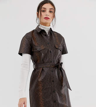 Stradivarius faux leather dress with tie waist in snake print-Brown