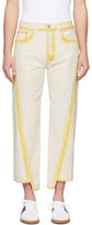 Lanvin White and Yellow Overdyed Twisted Seam Jeans