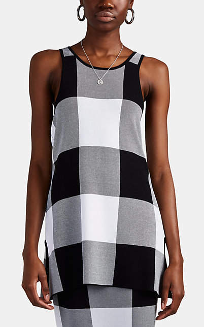 Derek Lam Women's Checked Jacquard-Knit Tank - Black-White