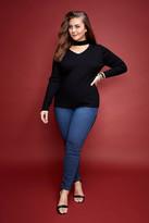 Fashion to Figure Cleo Deep V Choker Sweater