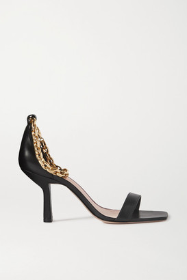 PORTE & PAIRE Chain-embellished Leather Sandals - Black