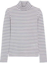 Golden Goose Deluxe Brand Iman Striped Stretch Cotton-blend Turtleneck Top - White