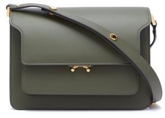 Marni Trunk Medium Leather Shoulder Bag - Dark Green