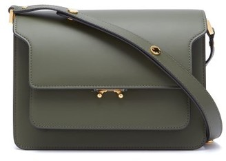 Marni Trunk Medium Leather Shoulder Bag - Womens - Dark Green