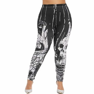 AMhomely Women Ladie Skeleton Printed Fitness Halloween Leggings Stretch Pants Trousers Womens Baggy Dungarees Long Playsuit Plus Size Pants/Dress Rompers UK Size 6-26 Black