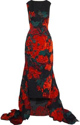 Oscar de la Renta Asymmetric Fil Coupe Cloque Gown