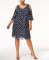 Connected Plus Size Cold-Shoulder Shift Dress