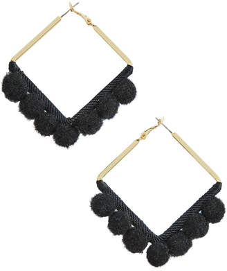 Vineyard Vines Square Pom Pom Hoop Earrings