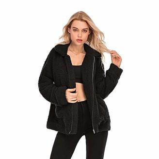 Milky Way Womens Coat Cozy Lapel Fleece Fuzzy Faux Shearling Zipper Warm Winter Coats Casual Oversized Outwear Jackets (Black XL)
