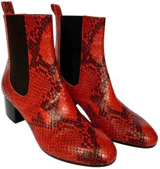 Dries Van Noten Red Python Ankle boots