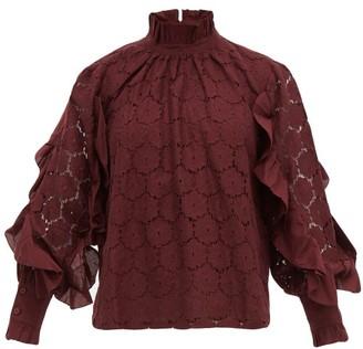 Apiece Apart Rio Broderie Anglaise Cotton Blend Blouse - Womens - Burgundy