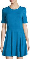 Three Dots Half-Sleeve Crewneck Skater Dress, Crown Blue