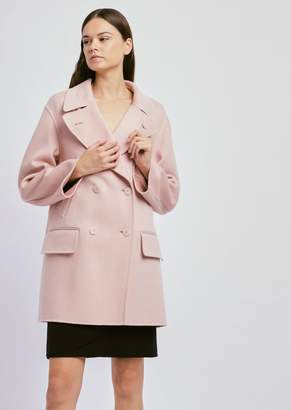 Emporio Armani Double-Breasted Peacoat In Double Cashmere
