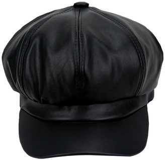 LA HAUTE Unisex Women Fashion Caps PU Flat Caps Peaked Beret Hat Baker Boy Newsboy Caps