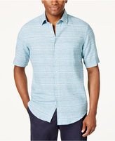 Tasso Elba Men's Linen-Blend Striped Shirt, Created for Macy's