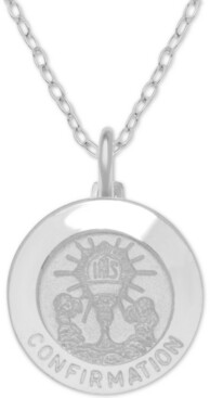 """Giani Bernini Confirmation Medallion 18"""" Pendant Necklace in Sterling Silver"""