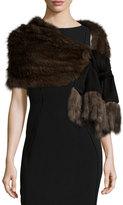 Gorski Sable-Fur Fringe Cashmere Wrap, Black