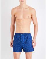 Derek Rose Blue Lightweight Paisley Classic-fit Cotton Boxer Shorts