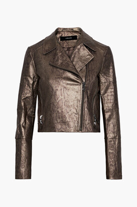 J Brand Aiah Coated Snake-print Cotton-blend Twill Biker Jacket
