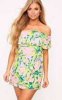 PrettyLittleThing Pink Tropical Print Bardot Swing Dress