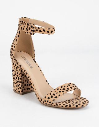 Soda Sunglasses Cheetah Ankle Strap Womens Block Heels