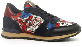 Valentino Garavani Men's Rock Runner Tiger-Print Trainer Sneakers