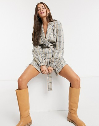 Palones Hoxton wrap blazer playsuit in check