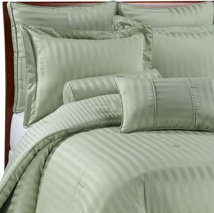 Wamsutta Damask Stripe Green Mini Comforter Set, 100% Egyptian Cotton