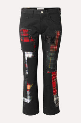 Junya Watanabe Embellished Patchwork Low-rise Straight-leg Jeans - Black