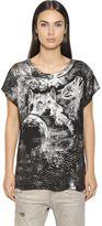 Diesel Wolves Print Cotton Blend Jersey T-Shirt