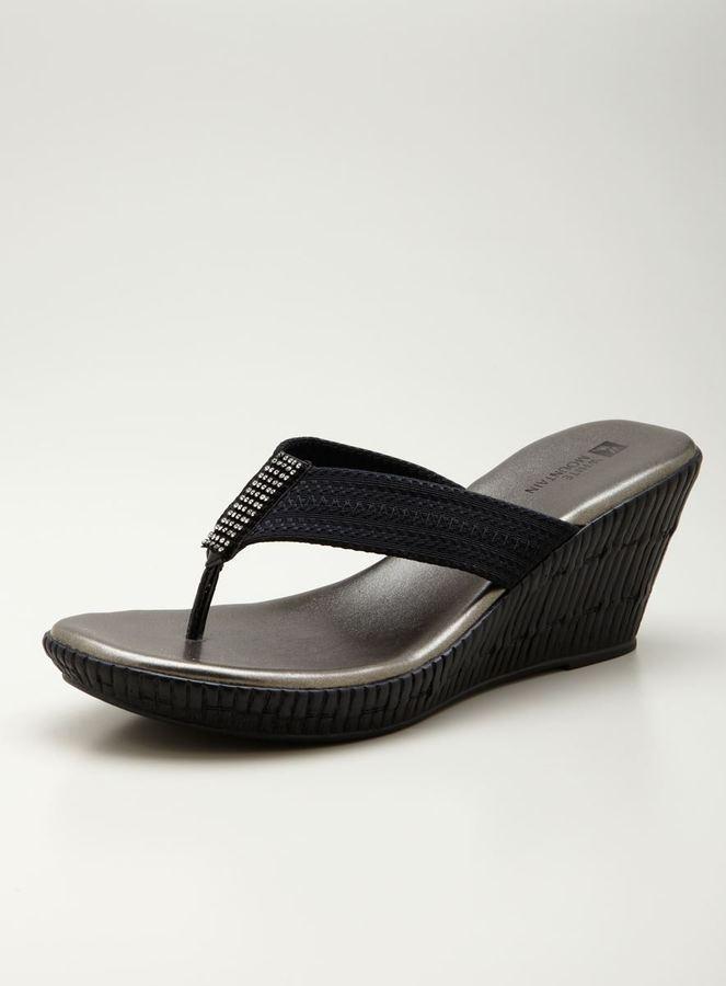 White Mountain wedge Thong Sandal