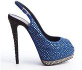 Giuseppe Zanotti Royal Blue And Black Crystal Studded Singleback Peep Toe Platform Pumps
