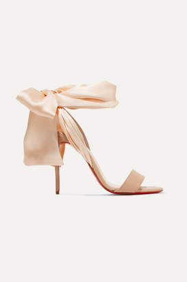 Christian Louboutin Sandale Du Desert 100 Leather And Satin Sandals - Beige