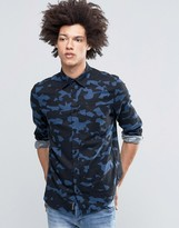 Cheap Monday Bolt Shirt Space Camo Flannel Blue