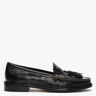 Daniel Glenster Black Moc Croc Leather Chunky Loafers