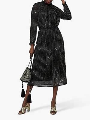 Monsoon Demi Linear Embroidered Midi Dress, Black