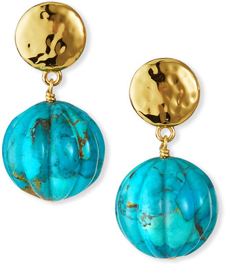 Nest Jewelry Turquoise Carved Ball Drop Earrings