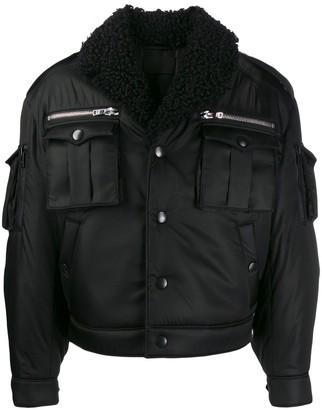 Prada shearling collar zip-up gabardine jacket